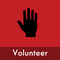 "Graphic icon of a raised hand with the text ""volunteer"""