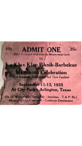KKK PiKniK BarbeKue, ticket - City Park, Arlington September 1925