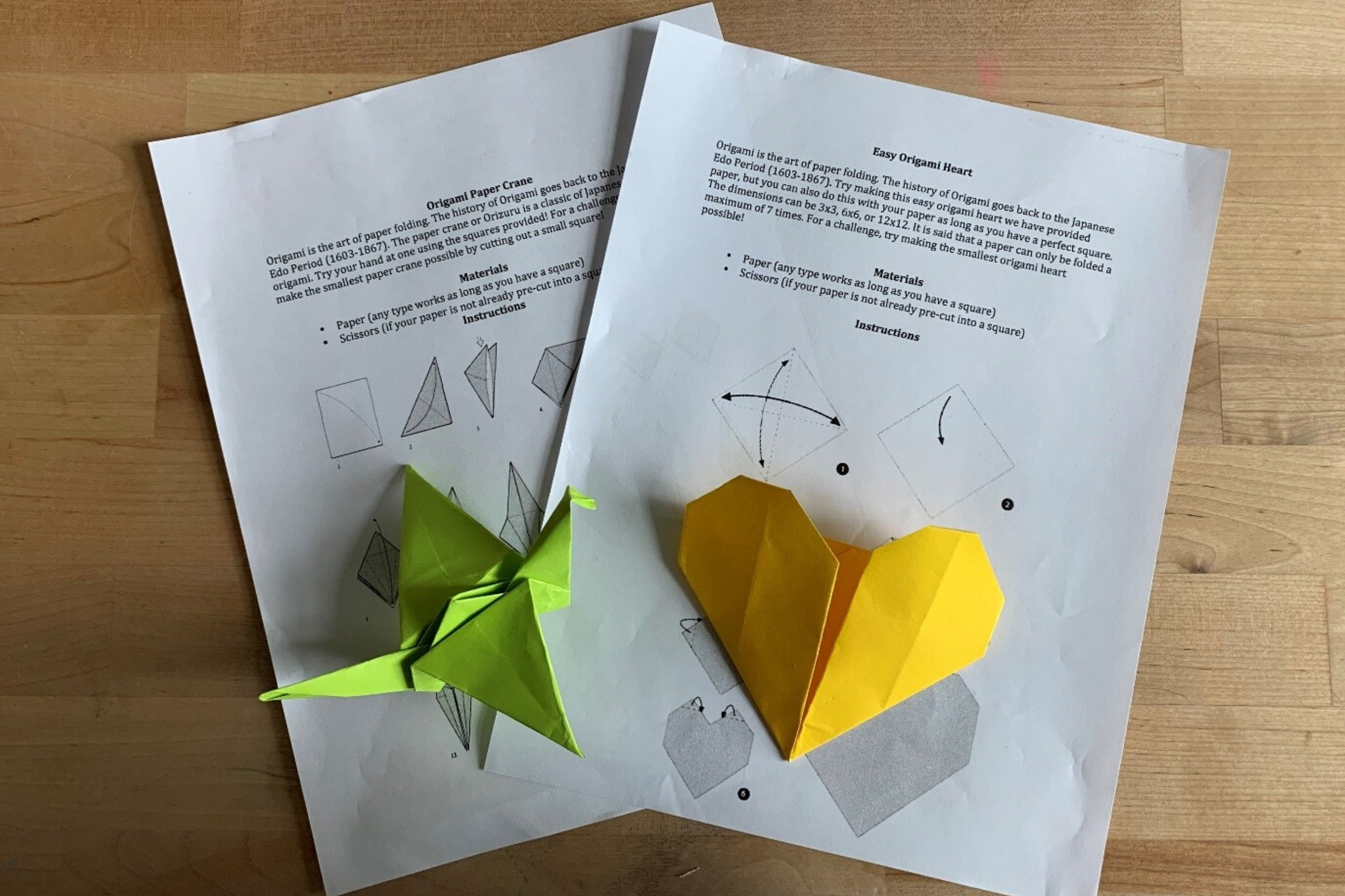 Arts and Crafts: Origami Heart & Paper Crane